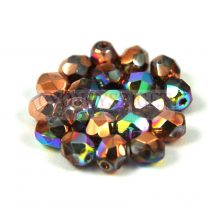 Cseh csiszolt golyó gyöngy - crystal copper rainbow -4mm