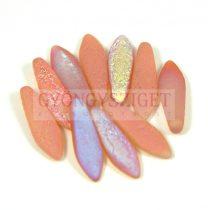 Lándzsa (szirom) cseh préselt üveggyöngy - etched crystal peach rainbow -5x16mm