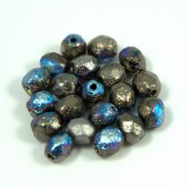 Czech Firepolished Round Glass Bead - etched glittery granite - 6mm