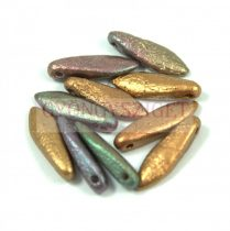 Lándzsa (szirom) cseh préselt üveggyöngy - etched purple iris gold -5x16mm