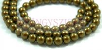Czech Pressed Round Glass Bead - oilgreen golden shine - 8mm