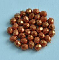 Cseh csiszolt golyó gyöngy -  coral golden shine -4mm
