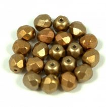 Cseh csiszolt golyó gyöngy - rose bronze - 6mm