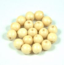 Czech Pressed Round Glass Bead -  ivory - 6mm