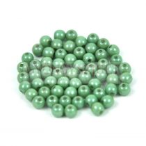 Czech Pressed Round Glass Bead - white-green gray marble 3mm