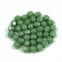 Czech Firepolished Round Glass Bead - alabaster green gray luster - 4mm
