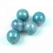 Cseh préselt golyó - Alabaster Blue Luster - 12mm