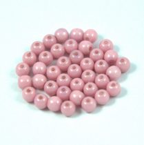 Czech Pressed Round Glass Bead - Alabaster Pink Luster - 4mm