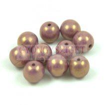 Cseh préselt golyó gyöngy - Alabaster Purple Gold Luster - 8mm