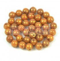 Cseh préselt golyó gyöngy - fehér bronz narancs lüszter-4mm
