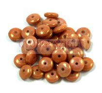 Lentil - Czech Glass bead - opaque white peach luster -6mm