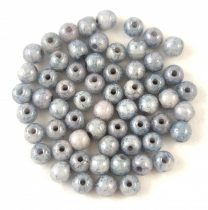 Czech Pressed Round Glass Bead - Chalk White Blue Marble - 3mm