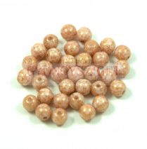 Cseh préselt golyó gyöngy - Alabaster Pink Bronze Luster - 4mm