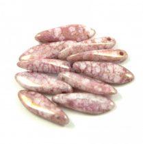 Lándzsa (szirom) cseh préselt üveggyöngy - Alabaster Pink Metallic Luster -5x16mm