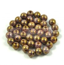 Cseh préselt golyó - Alabaster Purple Gold Luster - 3mm