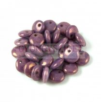 Lentil with Asymetrical Hole - Czech Glass Bead - Alabaster Vega Luster - 6mm