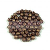 Cseh csiszolt golyó gyöngy - gold shine saddle brown - 3mm