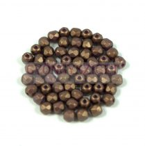 Czech Firepolished Round Glass Bead - gold shine saddle brown - 3mm