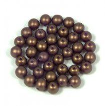 Cseh préselt golyó gyöngy - gold shine saddle brown - 4mm