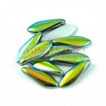 Lándzsa (szirom) cseh préselt üveggyöngy - Alabaster Vitrail - 5x16mm
