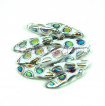 Dagger - Czech Glass Bead - Alabaster Peacock - 5x16mm