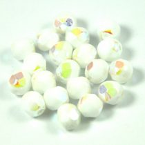 Czech Firepolished Round Glass Bead - opaque white ab - 4mm