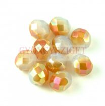 Cseh csiszolt golyó gyöngy - White Opal Peach Luster - 8mm