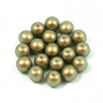 Cseh préselt golyó gyöngy - light olive golden shine -6mm