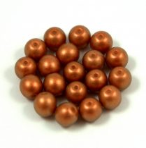 Cseh préselt golyó gyöngy -  Terracotta Golden Shine - 4mm - 300db