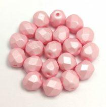Czech Firepolished Round Glass Bead - Silk Satin Pink - 6mm