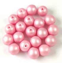 Cseh préselt golyó gyöngy - silk satin pink - 6mm