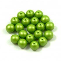 Cseh préselt golyó gyöngy - silk satin green - 6mm