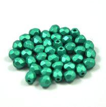 Cseh csiszolt golyó gyöngy- Polichrome Metallic Light Green -4mm