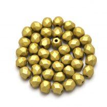 Cseh csiszolt golyó gyöngy- polichrome golden oliva -4mm