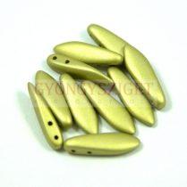 Lándzsa (szirom) cseh préselt üveggyöngy két lyukkal - polichrome golden olive -5x16mm