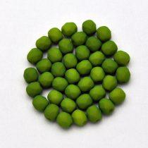 Cseh préselt golyó gyöngy - matte silk satin green pea - 3mm