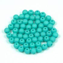 Cseh préselt golyó gyöngy - matte silk satin turquoise green - 3mm