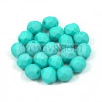 Czech Firepolished Round Glass Bead - silk satin turquoise green-6mm