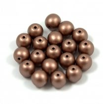 Cseh préselt gyöngy - chocolate bronze metallic satin - 8mm