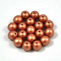Cseh préselt golyó gyöngy - copper metallic satin -6mm