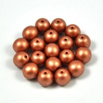 Cseh préselt golyó gyöngy - copper metallic satin -6mm