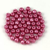 Cseh préselt golyó gyöngy - Powder Rose Metallic Satin - 3mm