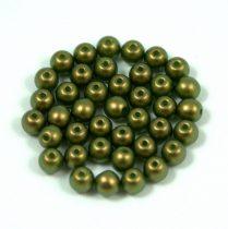 Cseh préselt golyó gyöngy - moss green golden shine -4mm