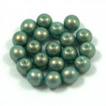 Cseh préselt golyó gyöngy - turquoise golden shine -6mm