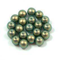 Cseh préselt golyó gyöngy - dark green golden shine -6mm