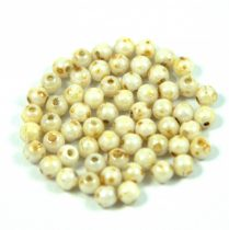 Czech Pressed Round Glass Bead - pearl - alabaster picasso-3mm