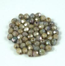 Czech Firepolished Round Glass Bead - Alabaster Green Brown Luster - 3mm
