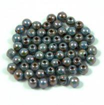 Cseh préselt golyó gyöngy - zöld-barna márvány-3mm