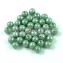Cseh préselt golyó gyöngy - zöld-barna márvány-4mm-p