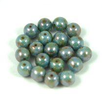 Cseh préselt golyó gyöngy - zöld-barna márvány-6mm